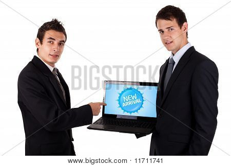 Business Man Pointing At A Colorful Sale Label 5
