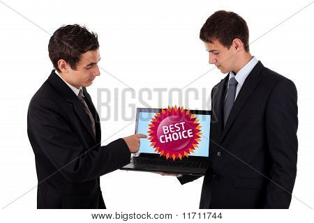 Business Man Pointing At A Colorful Sale Label 4