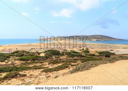 Peninsula Prasonisi and sandbank with lots of cars in Rhodes Greece