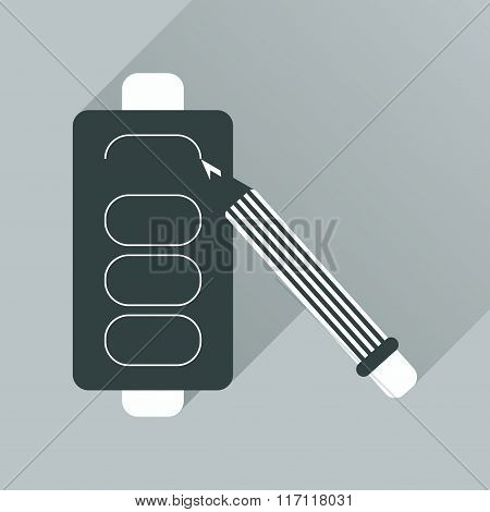 Flat web icon with shadow battery charge