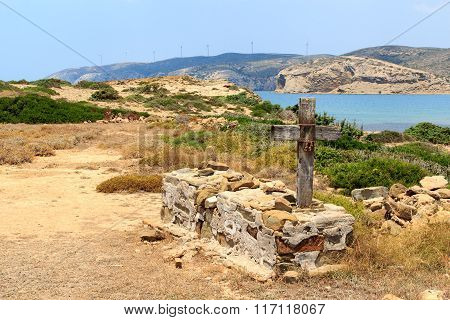 Grave on Peninsula Prasonisi in Rhodes Greece