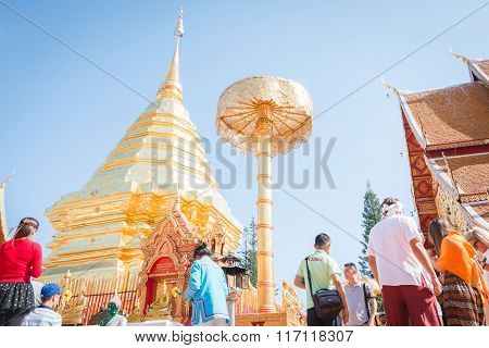 Tourist  Walking Around  At Wat Phra That Doi Suthep Chiang Mai - Thailand