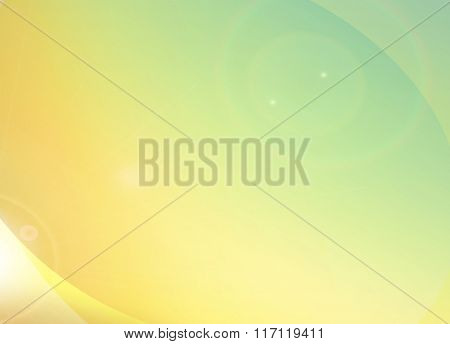 Summer feeling, light yellow orange green graphic background with rainbow flare