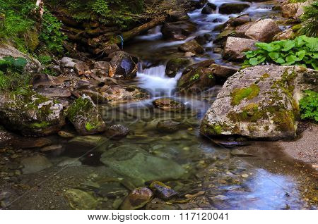 Slow motion water in the mountains of Romania