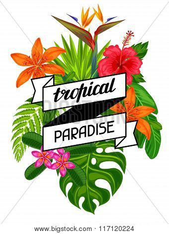 Tropical paradise card with stylized leaves and flowers. Image for advertising booklets, banners, fl
