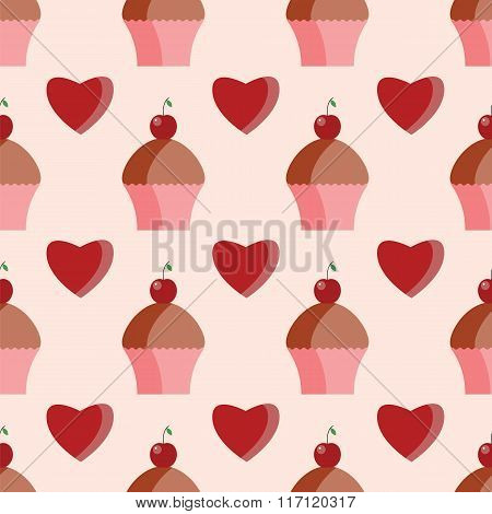 Seamless Pattern Of  Cupcakes And Hearts