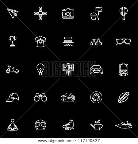 Hipster Line Icons On Black Background