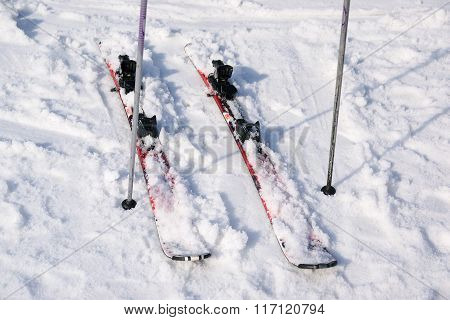 Ski equipment on ski run.