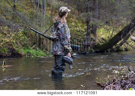 Woman Hunter With Stuffed Duck