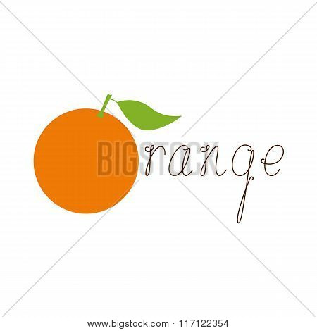 Orange Logo Template With Calligraphic Lettering