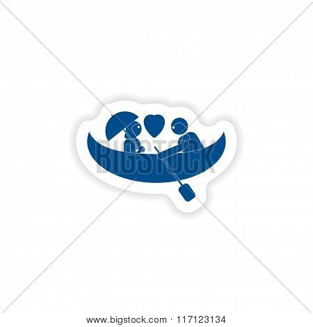 paper sticker on white background love boat