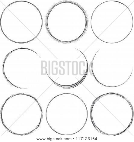 Set of round elements for design.