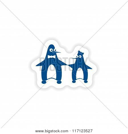 paper sticker on white background couple penguins