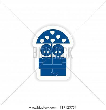 paper sticker on white background lovers under umbrella