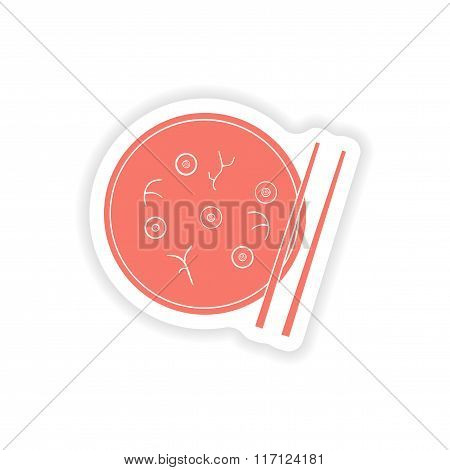 paper sticker on white background Miso soup