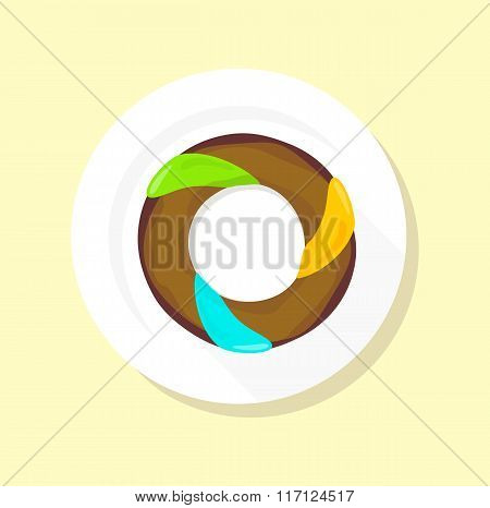 Sweet Donuts Set Design Flat Food