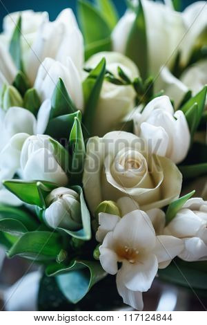Fresh Bouquet Of White Rose And Tulip Close Up