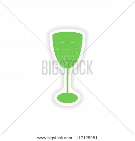 paper sticker on white background wineglass ring