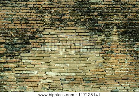 Old Brick Walls Close To Decay.  Failed Concept