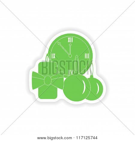 paper sticker on white background watch candle