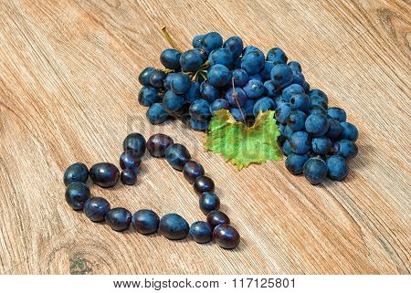 Bunch of grapes and heart shaped grapes