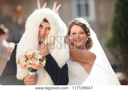Cheerful Elegant Funny Smiling Dark-haired Couple