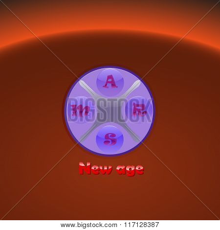 Hi-tech logo New Age with mars on background