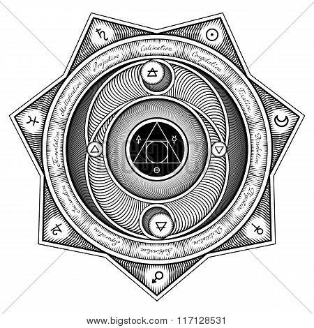 Alchemical Symbols Interaction Sheme - Vector Illustration Stylized As Engraving