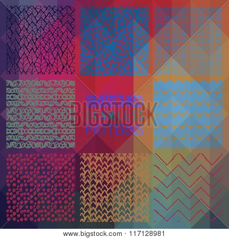 Abstract Seamless Patterns on Triangular Background
