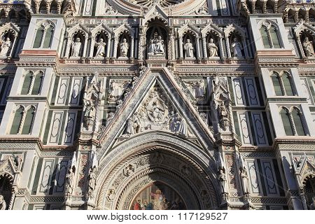 Main Facade Of Cathedral In Florence,italy.