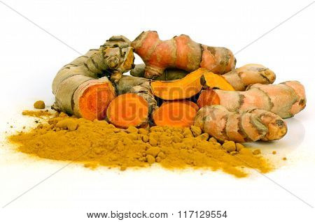 Turmeric (curcuma Longa L.) Root And Turmeric Powder.