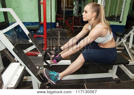 A Beautiful Girl Goes In For Sports In The Old Gym