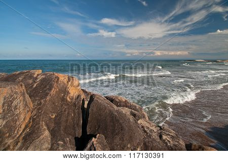Ocean, Rocks And Beautiful Sky