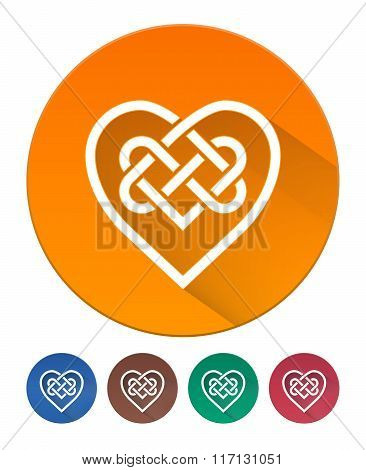 Hearts Icon Flat. Intertwined Heart In Celtic Knot