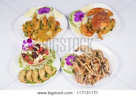Menu Of Seafood On The Table
