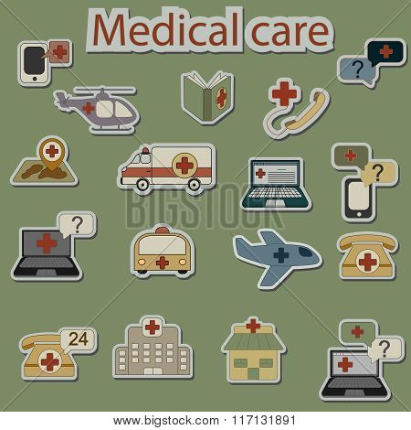 emergency and medical care icons set