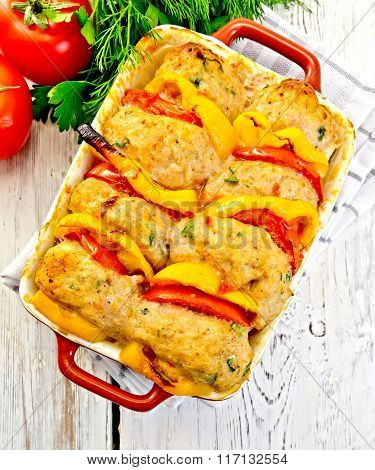 Cutlets of turkey in pan on light board top