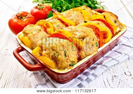 Cutlets of turkey with peppers in pan on board