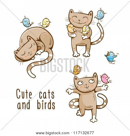 Cats And Birds Set.