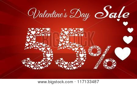 Valentine`s Day Sale, 55  Percent Discount Made Of Little Hearts. Vector