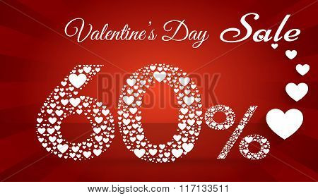 Valentine`s Day Sale, 60  Percent Discount Made Of Little Hearts. Vector