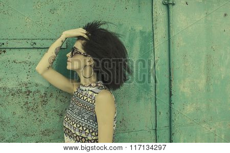 Fashion Photo With Afro Hairstyle.