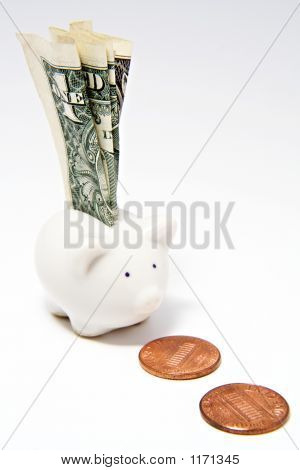 Piggy Bank And Dollar Bill