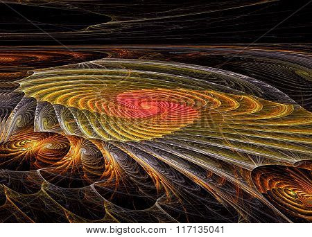 Abstract Digitally Generated Image Spiral With Perspective