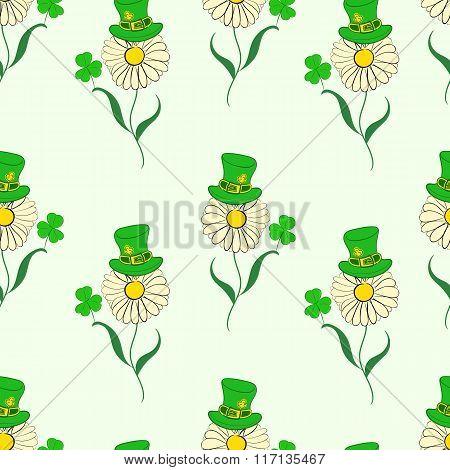 Seamless camomiles of Saint Patrick