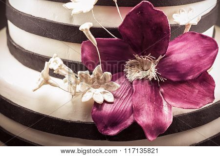 Purple Sugar Flower On Cake
