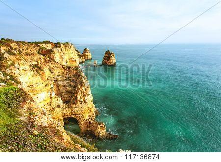 Rocky Coast Algarve Southern Portugal