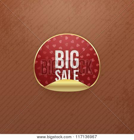 Valentines Day big Sale red vector round Sticker