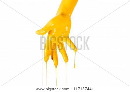 Painted hand.