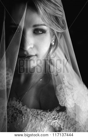 B&w Beautiful Blonde Bride In Make-up And Veil In A White Dress Close-up